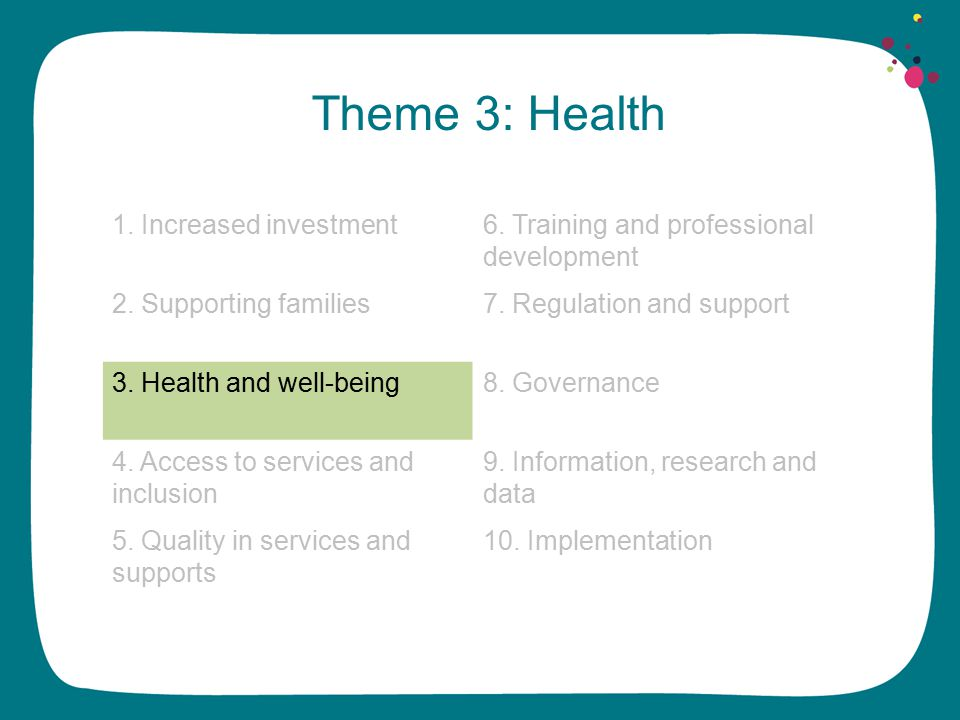 Theme 3: Health 1. Increased investment6. Training and professional development 2.