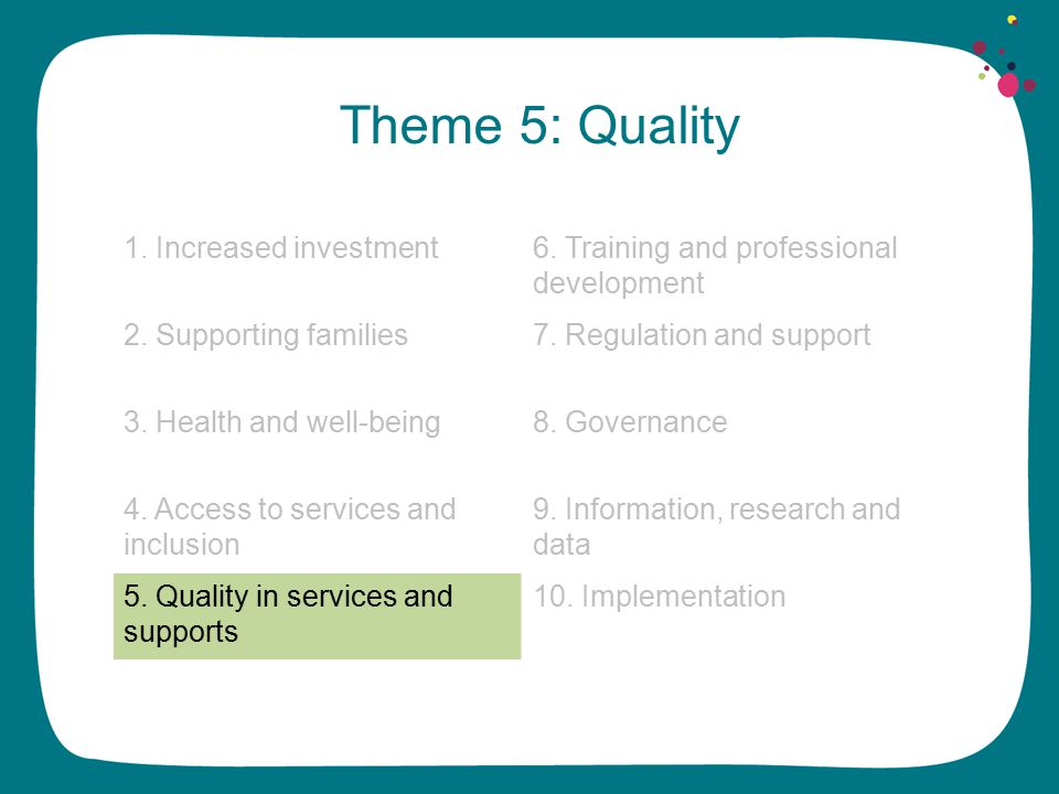 Theme 5: Quality 1. Increased investment6. Training and professional development 2.