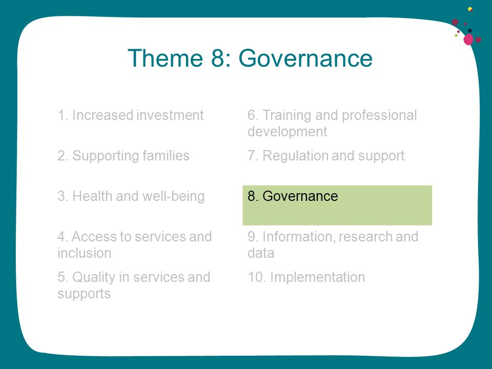 Theme 8: Governance 1. Increased investment6. Training and professional development 2.