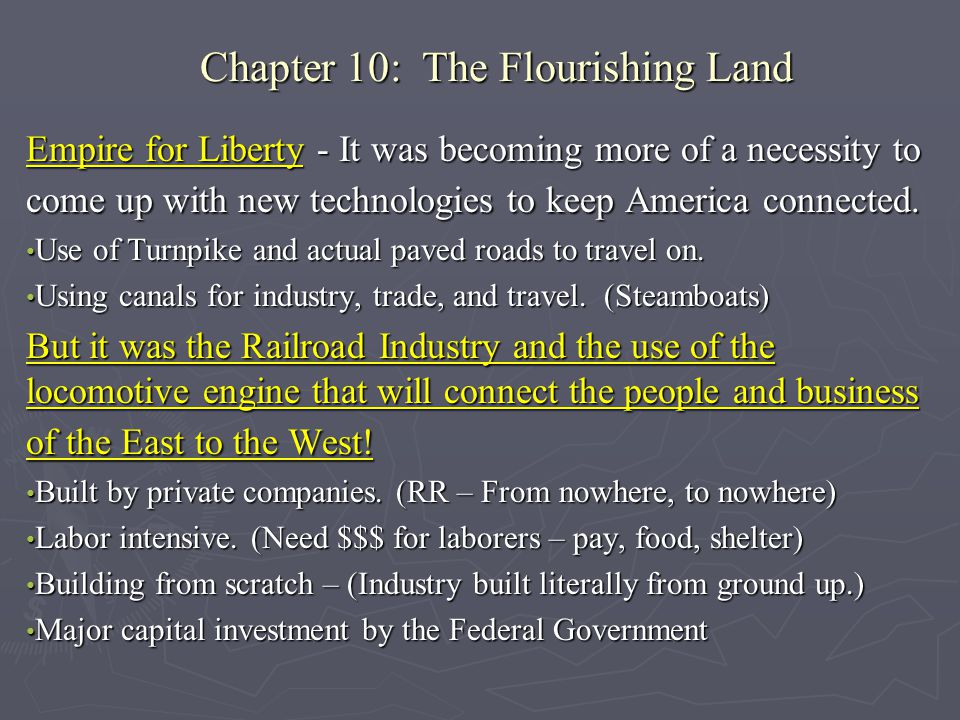 Chapter 10: The Flourishing Land Empire for Liberty - It was becoming more of a necessity to come up with new technologies to keep America connected.