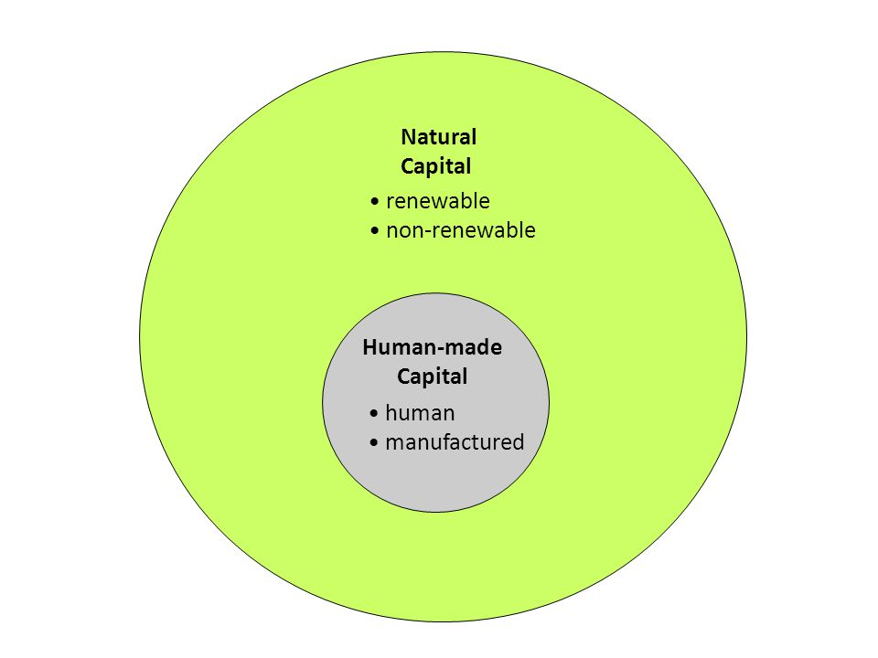 Natural Capital renewable non-renewable Human-made Capital human manufactured