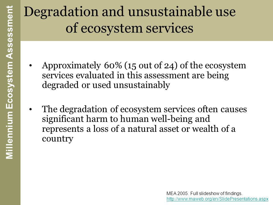 Degradation and unsustainable use of ecosystem services Approximately 60% (15 out of 24) of the ecosystem services evaluated in this assessment are being degraded or used unsustainably The degradation of ecosystem services often causes significant harm to human well-being and represents a loss of a natural asset or wealth of a country Millennium Ecosystem Assessment MEA 2005.