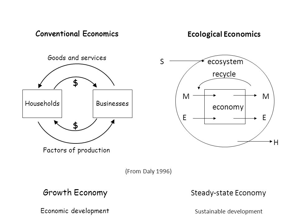 (From Daly 1996) ecosystem M E M E S recycle H economy Ecological Economics HouseholdsBusinesses $ $ Goods and services Factors of production Conventional Economics Growth Economy Steady-state Economy Economic development Sustainable development