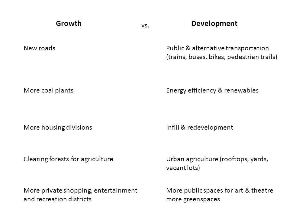 GrowthDevelopment vs.