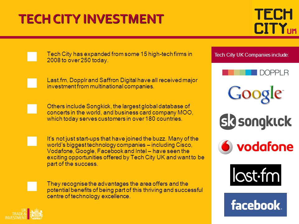 Tech City has expanded from some 15 high-tech firms in 2008 to over 250 today.