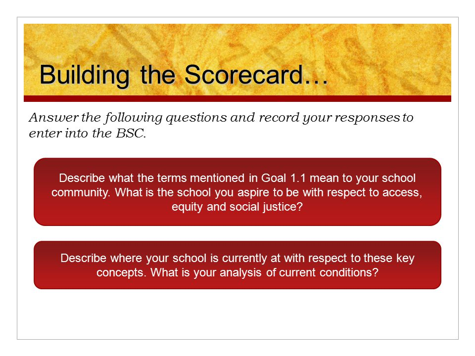 Building the Scorecard… Answer the following questions and record your responses to enter into the BSC. Describe what the terms mentioned in Goal 1.1