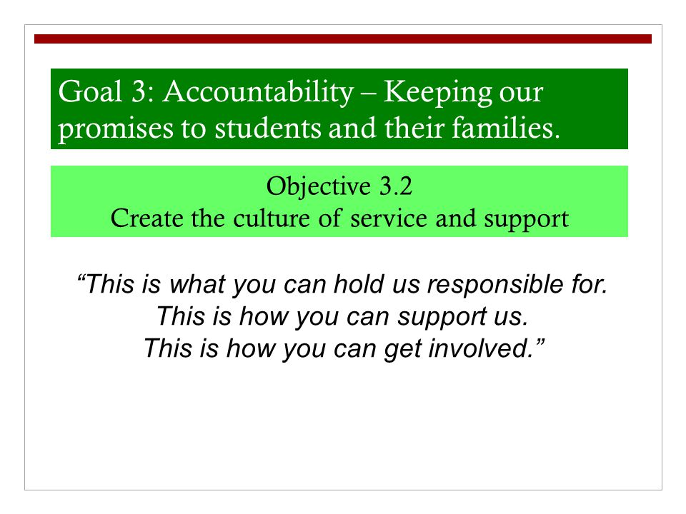 "Goal 3: Accountability – Keeping our promises to students and their families. Objective 3.2 Create the culture of service and support ""This is what yo"
