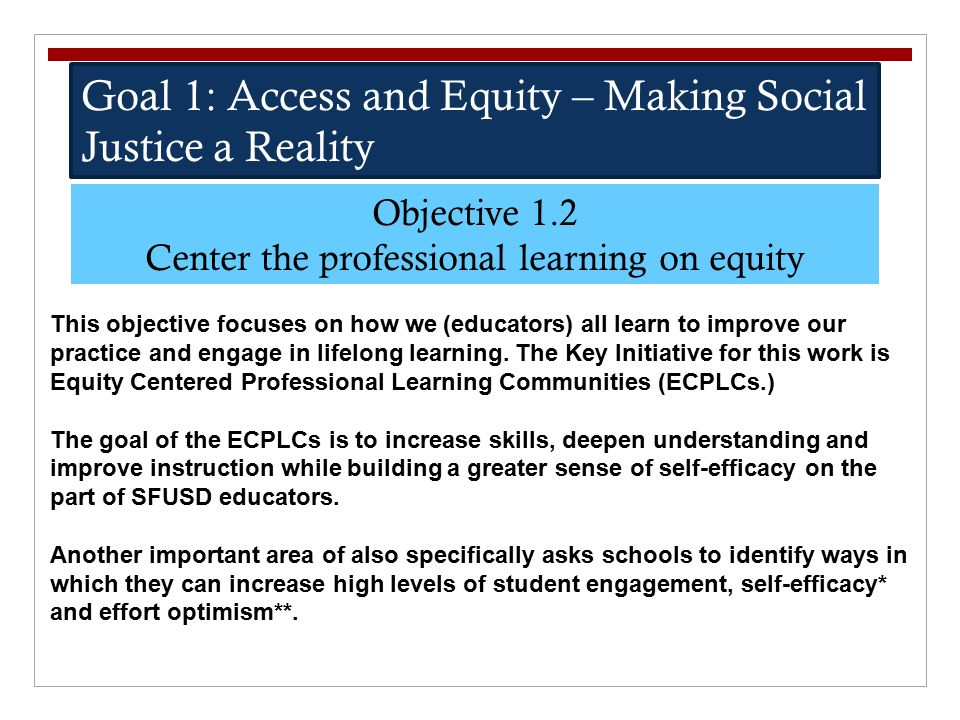 Goal 1: Access and Equity – Making Social Justice a Reality Objective 1.2 Center the professional learning on equity This objective focuses on how we