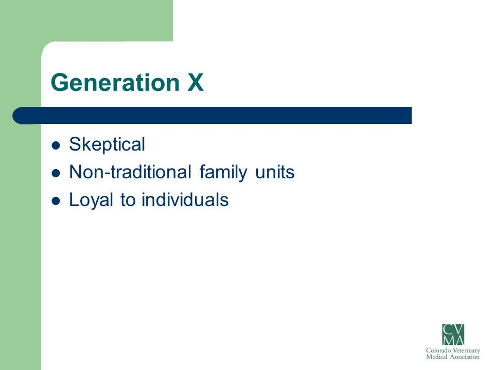 Generation X Skeptical Non-traditional family units Loyal to individuals