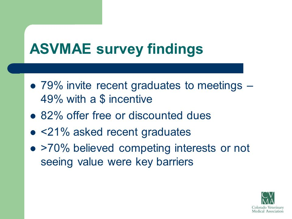 ASVMAE survey findings 79% invite recent graduates to meetings – 49% with a $ incentive 82% offer free or discounted dues <21% asked recent graduates