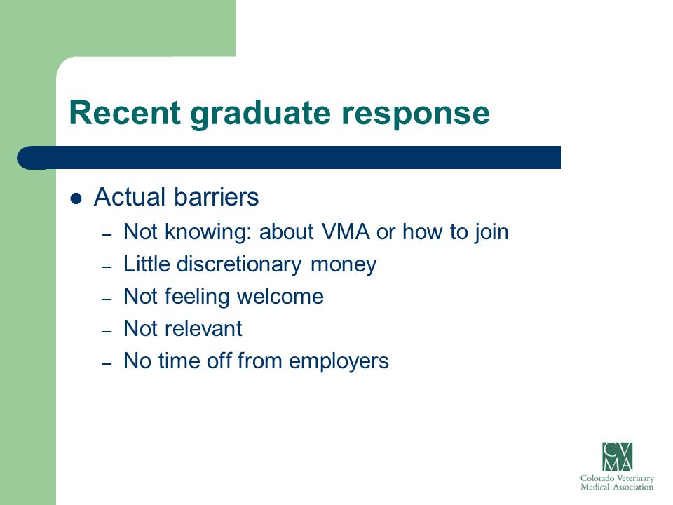 Recent graduate response Actual barriers – Not knowing: about VMA or how to join – Little discretionary money – Not feeling welcome – Not relevant – N