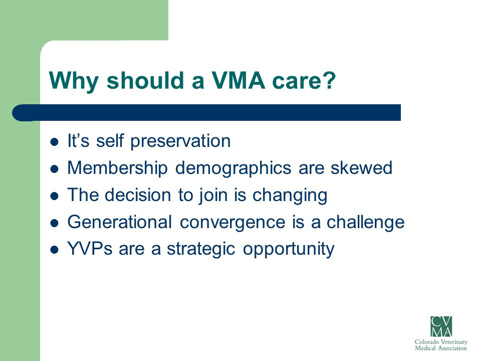 Why should a VMA care? It's self preservation Membership demographics are skewed The decision to join is changing Generational convergence is a challe