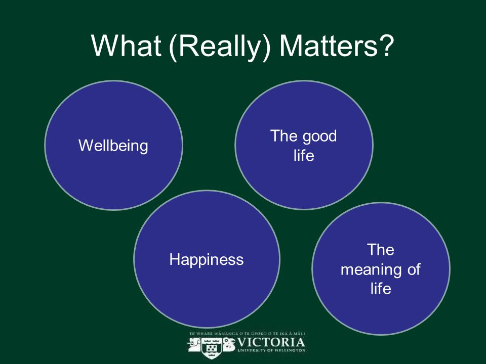What (Really) Matters Wellbeing The good life Happiness The meaning of life