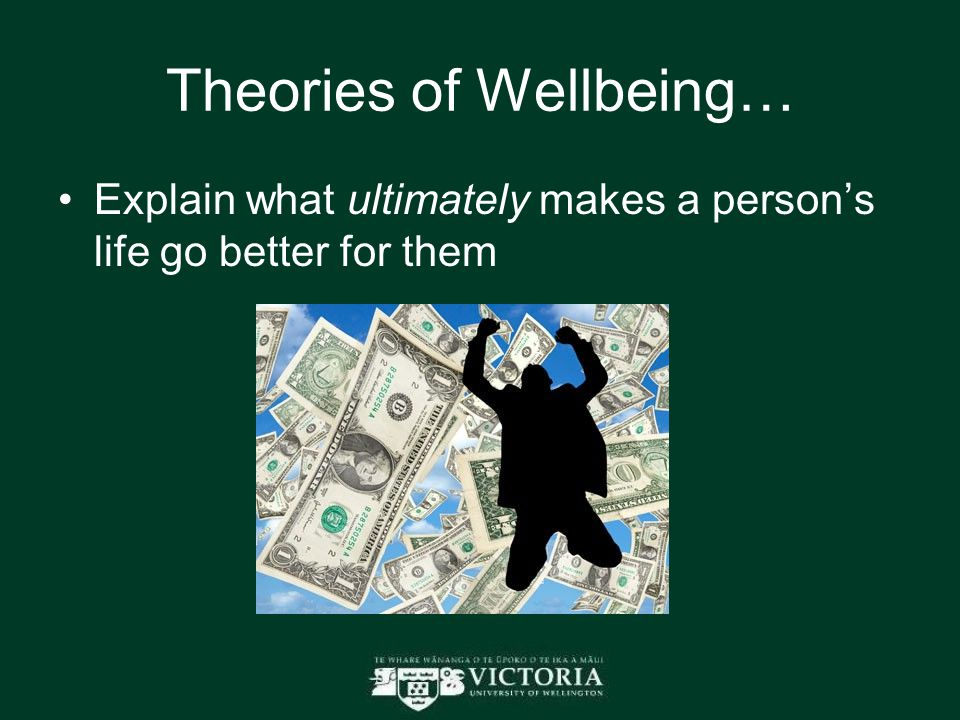 Theories of Wellbeing… Explain what ultimately makes a person's life go better for them