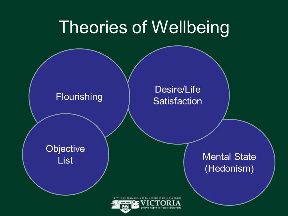 Theories of Wellbeing Mental State (Hedonism) Desire/Life Satisfaction Flourishing Objective List