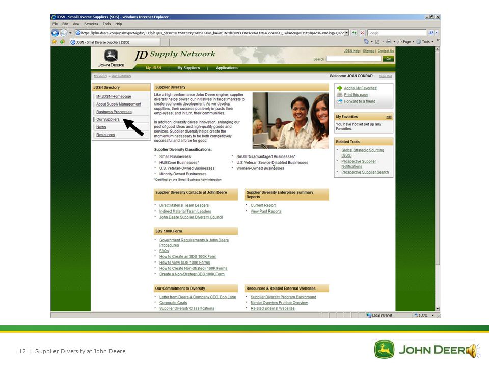 |Supplier Diversity at John Deere11 Supplier diversity helps our company flourish.