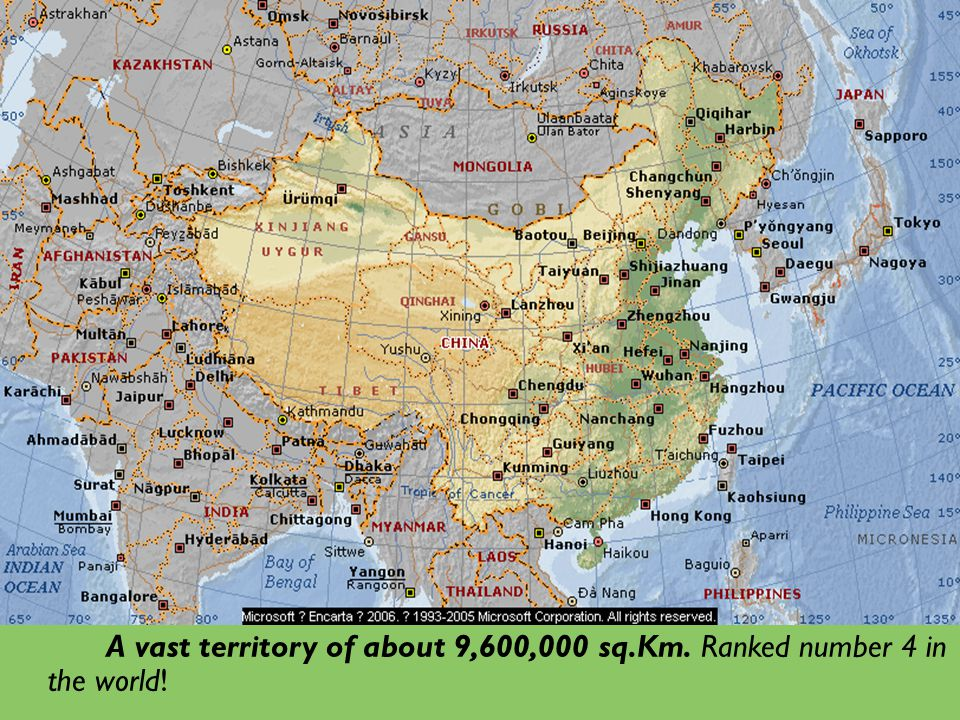 A vast territory of about 9,600,000 sq.Km. Ranked number 4 in the world!