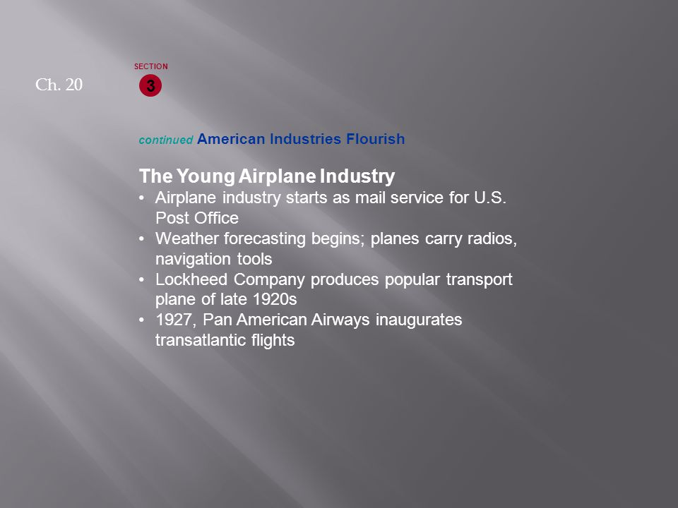 continued American Industries Flourish The Young Airplane Industry Airplane industry starts as mail service for U.S.