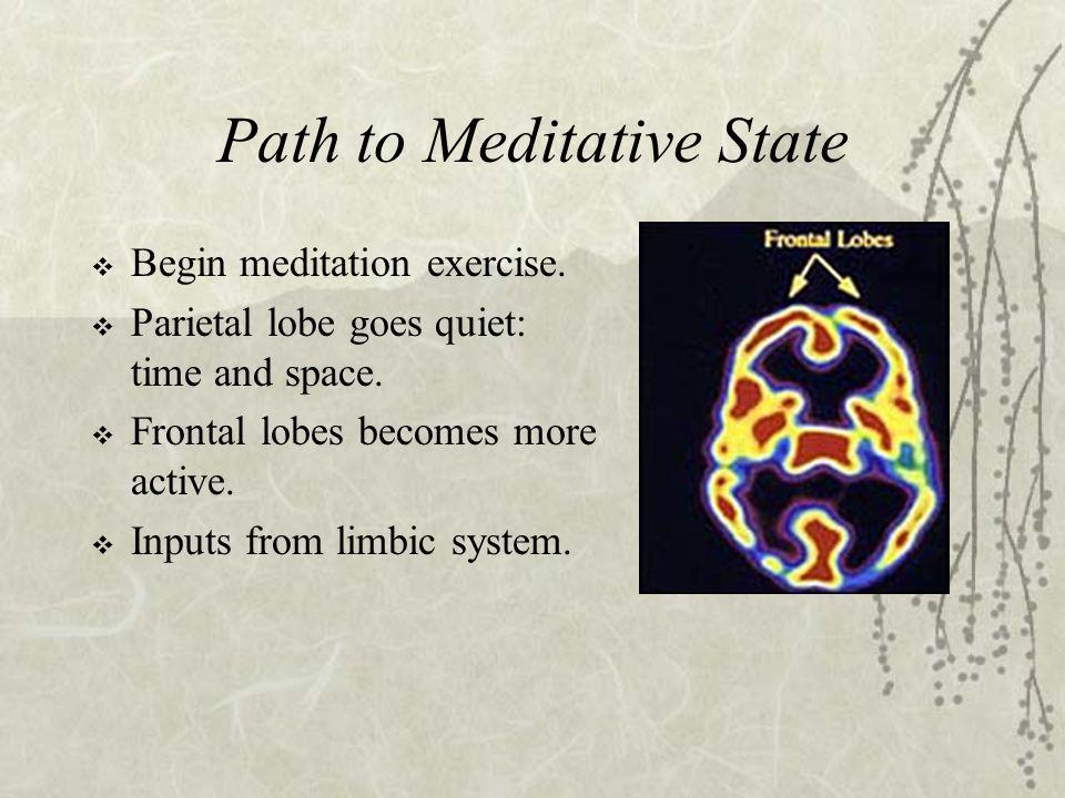 Path to Meditative State  Begin meditation exercise.