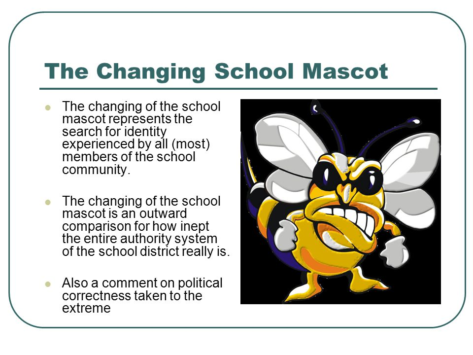 The Changing School Mascot The changing of the school mascot represents the search for identity experienced by all (most) members of the school community.