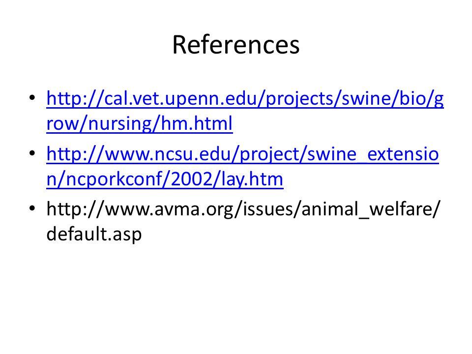 References http://cal.vet.upenn.edu/projects/swine/bio/g row/nursing/hm.html http://cal.vet.upenn.edu/projects/swine/bio/g row/nursing/hm.html http://www.ncsu.edu/project/swine_extensio n/ncporkconf/2002/lay.htm http://www.ncsu.edu/project/swine_extensio n/ncporkconf/2002/lay.htm http://www.avma.org/issues/animal_welfare/ default.asp