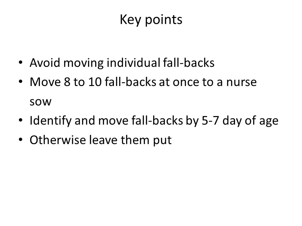 Key points Avoid moving individual fall-backs Move 8 to 10 fall-backs at once to a nurse sow Identify and move fall-backs by 5-7 day of age Otherwise