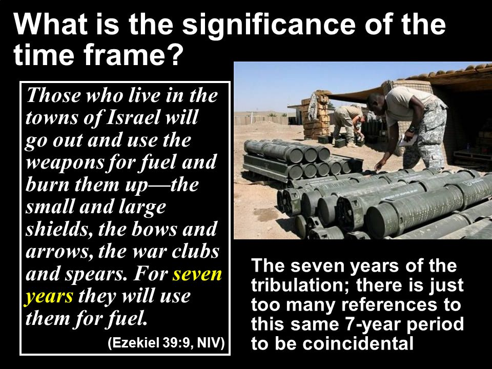 Those who live in the towns of Israel will go out and use the weapons for fuel and burn them up—the small and large shields, the bows and arrows, the