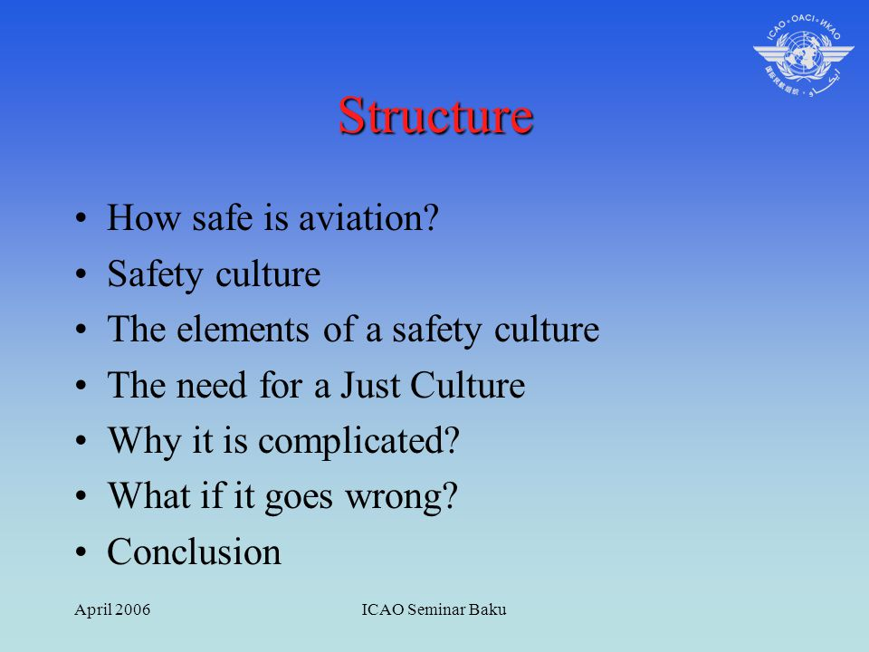 April 2006ICAO Seminar Baku Structure How safe is aviation? Safety culture The elements of a safety culture The need for a Just Culture Why it is comp