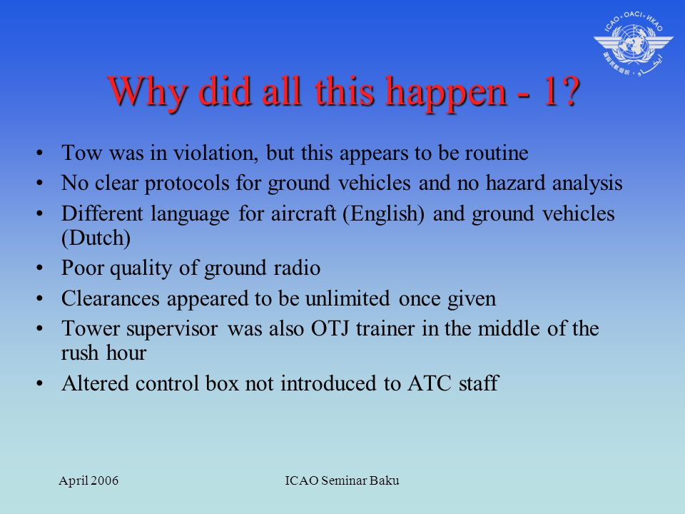 April 2006ICAO Seminar Baku Why did all this happen - 1? Tow was in violation, but this appears to be routine No clear protocols for ground vehicles a