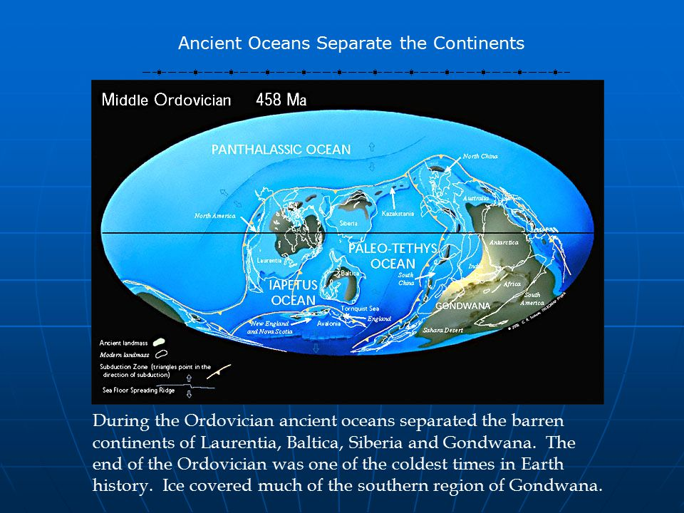 During the Ordovician ancient oceans separated the barren continents of Laurentia, Baltica, Siberia and Gondwana.