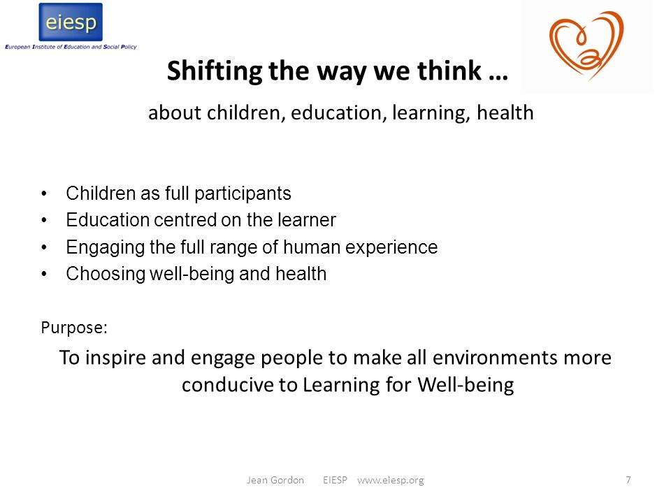 Learning for Well-being implies: Self-directed activity Individual processes and needs Capacities for self-discovery/expression Involving whole person Inherently a social activity -- in relationship Requiring curiosity, openness and respect Through and within diverse learning environments Optimized through autonomy and choices Ref.: Linda O'Toole & Daniel Kropf, Learning for Well-being.