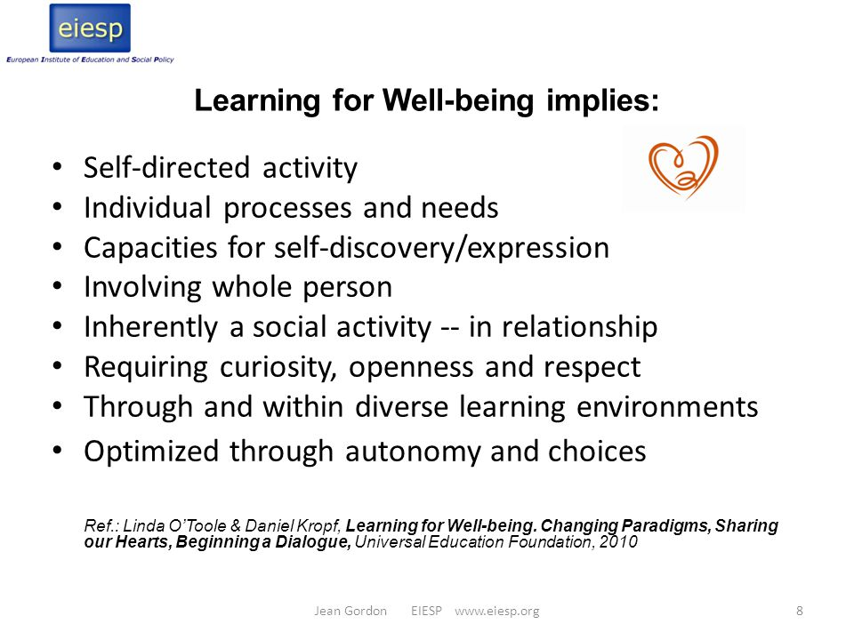 Summary of points Learning to learn/understand who you are = foundation for understanding others Learning for well-being = learning about ourselves so that we make the decisions that serve us, others and the environment Holistic approach to children's development & education - focus on the complete person Every learner's needs differ.