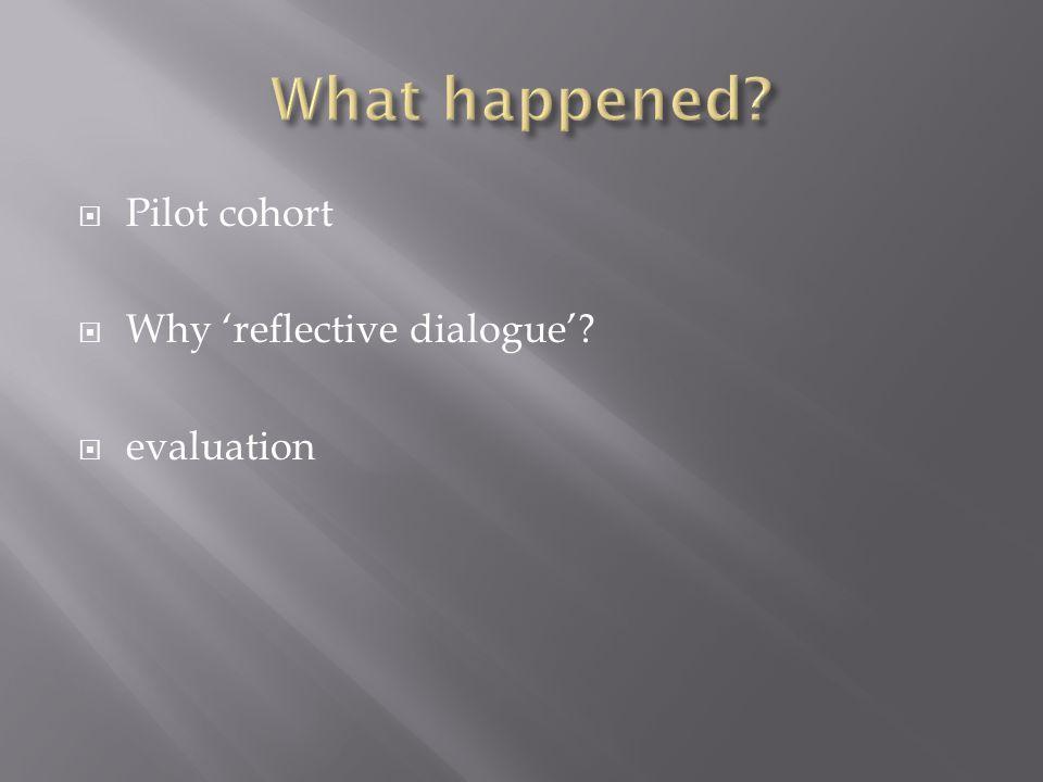  Pilot cohort  Why 'reflective dialogue'?  evaluation