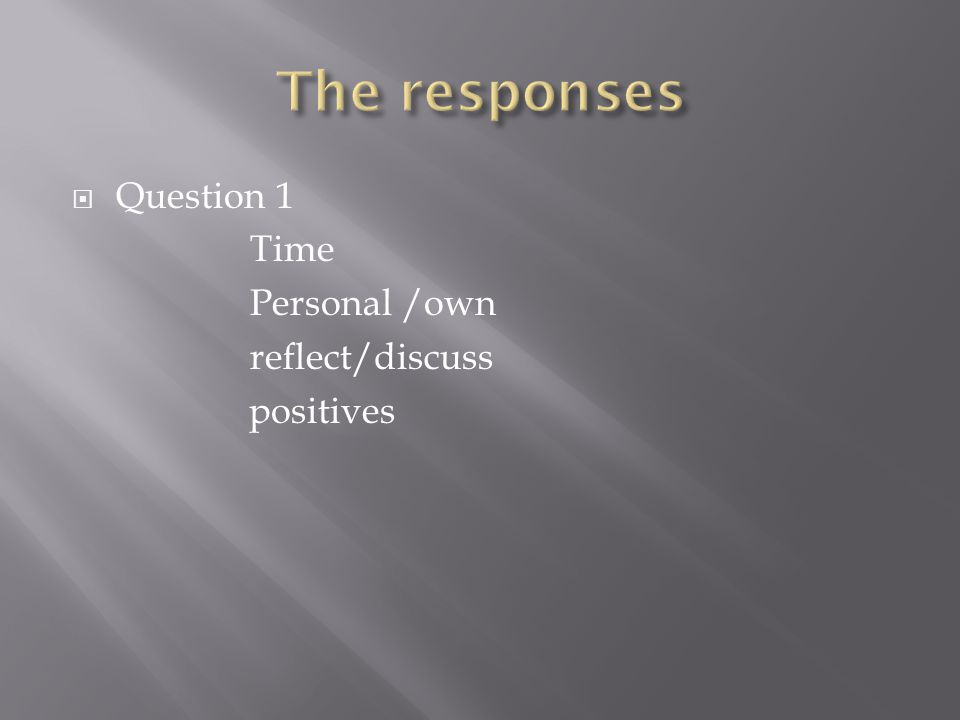  Question 1 Time Personal /own reflect/discuss positives