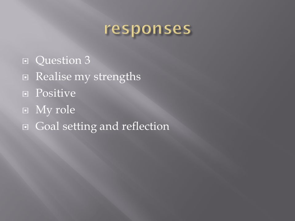  Question 3  Realise my strengths  Positive  My role  Goal setting and reflection