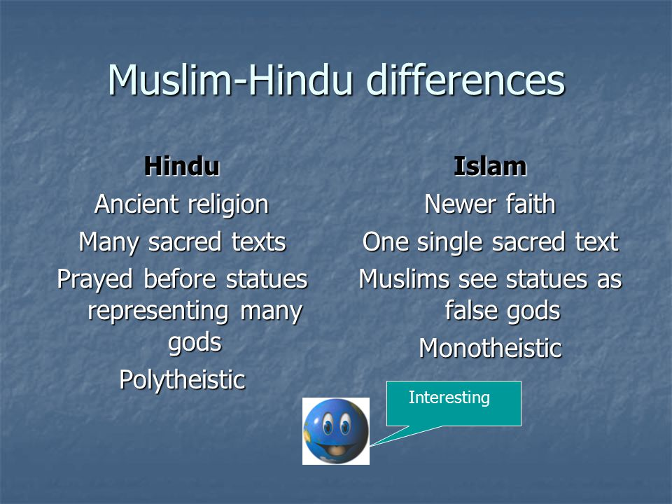 Muslim-Hindu differences Hindu Ancient religion Many sacred texts Prayed before statues representing many gods PolytheisticIslam Newer faith One single sacred text Muslims see statues as false gods Monotheistic Interesting