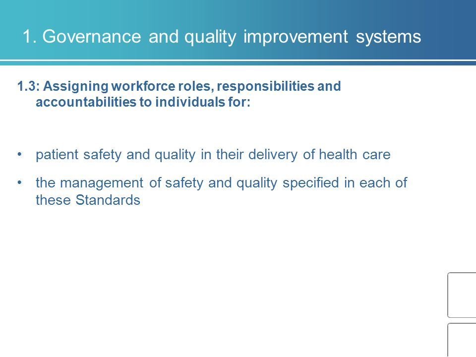 1. Governance and quality improvement systems 1.3: Assigning workforce roles, responsibilities and accountabilities to individuals for: patient safety