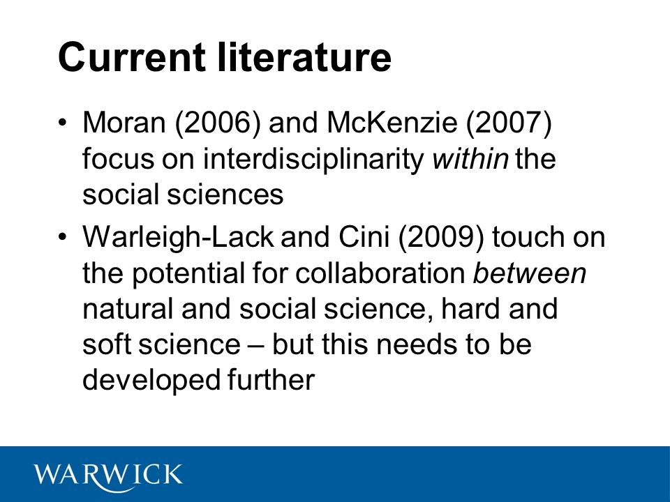 Current literature Moran (2006) and McKenzie (2007) focus on interdisciplinarity within the social sciences Warleigh-Lack and Cini (2009) touch on the