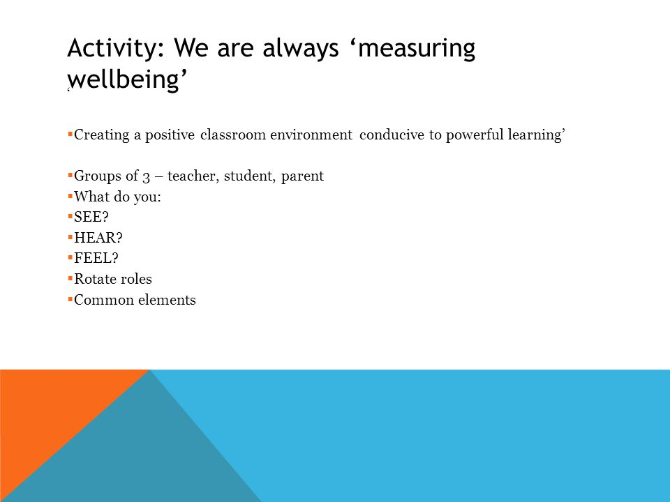 Activity: We are always 'measuring wellbeing' '  Creating a positive classroom environment conducive to powerful learning'  Groups of 3 – teacher, student, parent  What do you:  SEE.