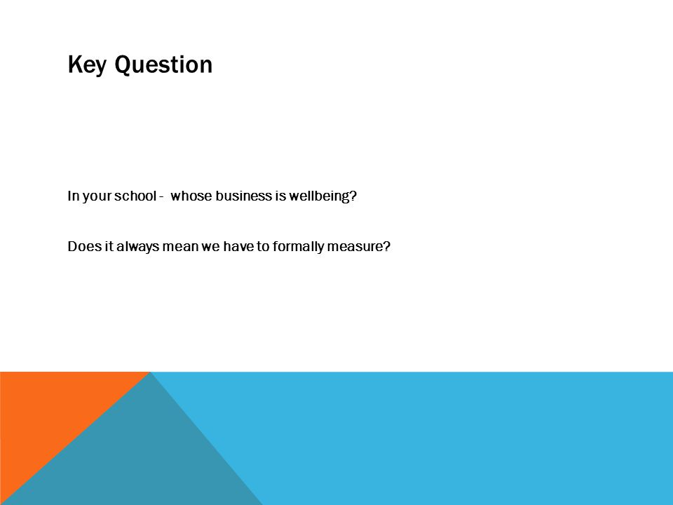 Key Question In your school - whose business is wellbeing.