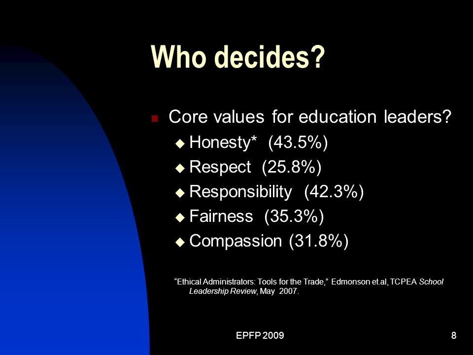 EPFP 20098 Who decides. Core values for education leaders.