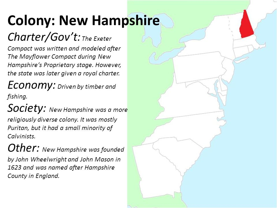 Colony: New Hampshire Charter/Gov't: The Exeter Compact was written and modeled after The Mayflower Compact during New Hampshire's Proprietary stage.