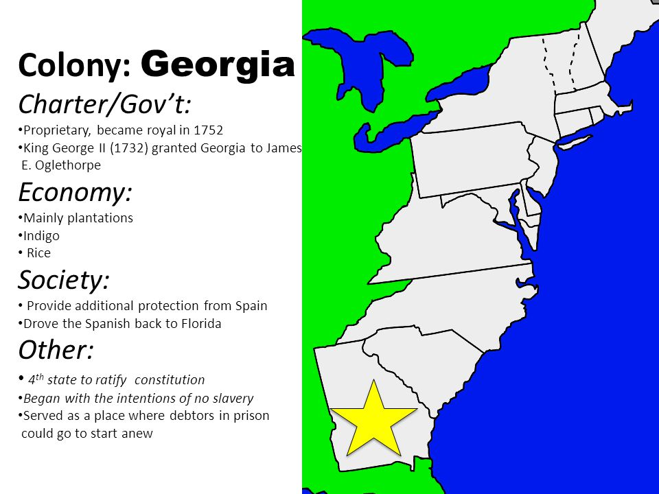 Colony: Georgia Charter/Gov't: Proprietary, became royal in 1752 King George II (1732) granted Georgia to James E.