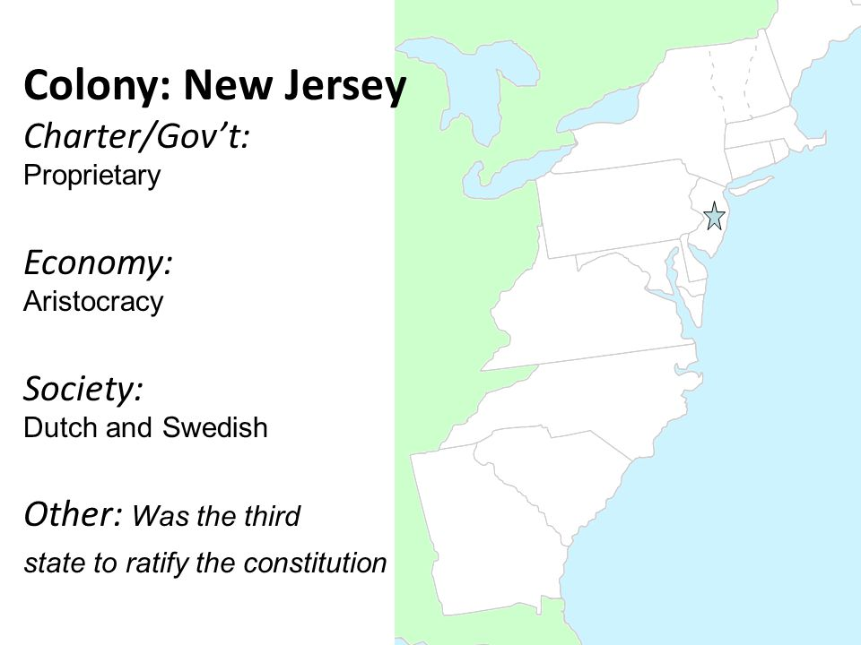 Colony: New Jersey Charter/Gov't: Proprietary Economy: Aristocracy Society: Dutch and Swedish Other: Was the third state to ratify the constitution