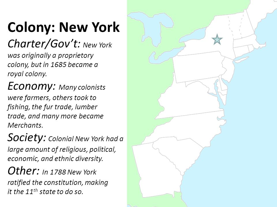 Colony: New York Charter/Gov't: New York was originally a proprietory colony, but in 1685 became a royal colony. Economy: Many colonists were farmers,