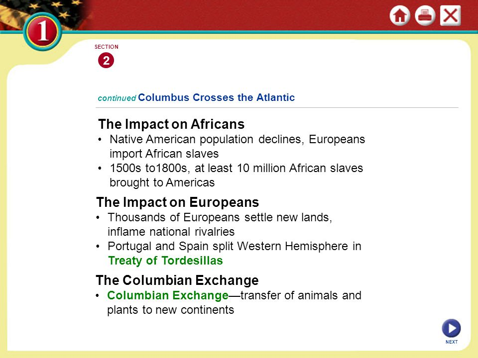 The Impact on Africans Native American population declines, Europeans import African slaves 1500s to1800s, at least 10 million African slaves brought to Americas continued Columbus Crosses the Atlantic 2 SECTION The Impact on Europeans Thousands of Europeans settle new lands, inflame national rivalries Portugal and Spain split Western Hemisphere in Treaty of Tordesillas The Columbian Exchange Columbian Exchange—transfer of animals and plants to new continents NEXT