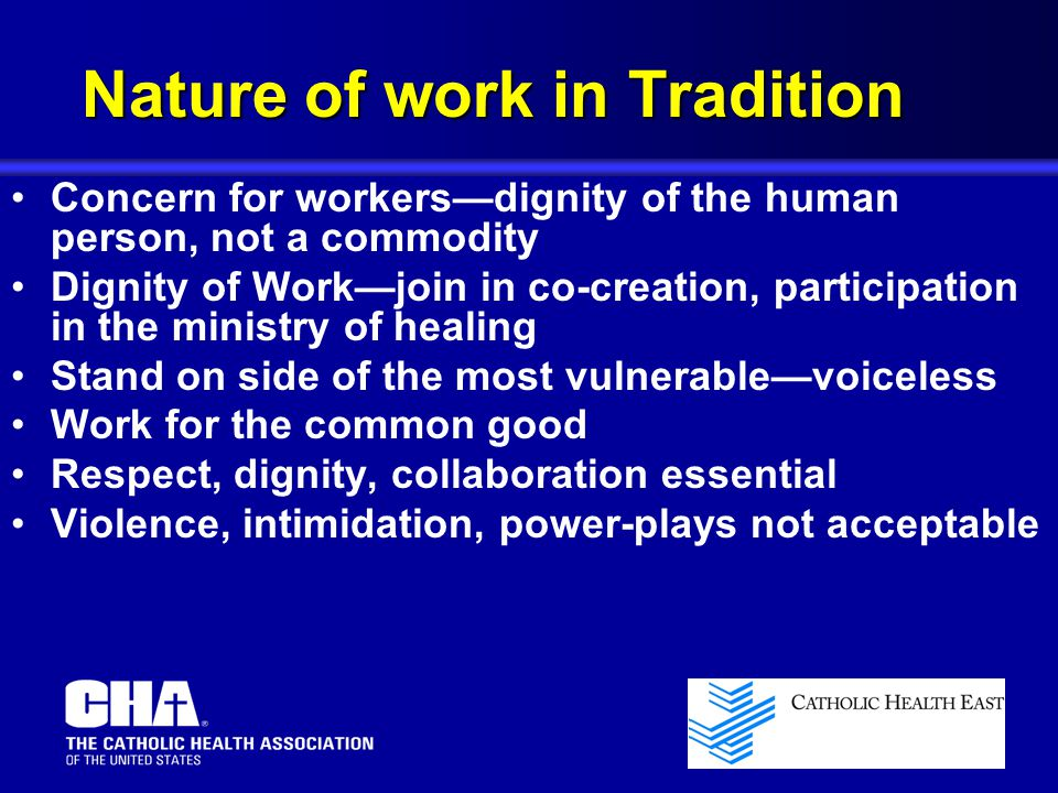 Concern for workers—dignity of the human person, not a commodity Dignity of Work—join in co-creation, participation in the ministry of healing Stand on side of the most vulnerable—voiceless Work for the common good Respect, dignity, collaboration essential Violence, intimidation, power-plays not acceptable Nature of work in Tradition