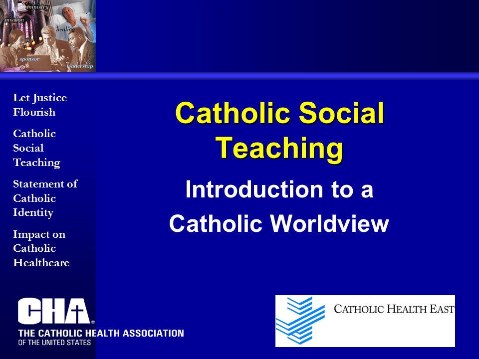Catholic Social Teaching Introduction to a Catholic Worldview Let Justice Flourish Catholic Social Teaching Statement of Catholic Identity Impact on C