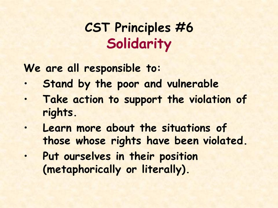 CST Principles #6 Solidarity We are all responsible to: Stand by the poor and vulnerable Take action to support the violation of rights. Learn more ab