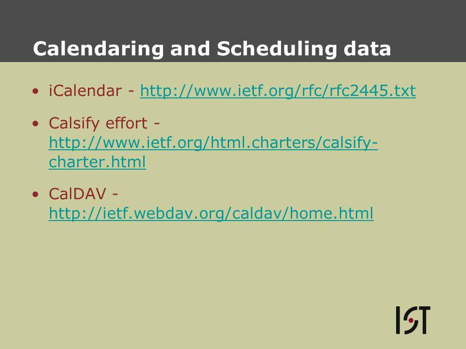 Calendaring and Scheduling data iCalendar - http://www.ietf.org/rfc/rfc2445.txthttp://www.ietf.org/rfc/rfc2445.txt Calsify effort - http://www.ietf.org/html.charters/calsify- charter.html http://www.ietf.org/html.charters/calsify- charter.html CalDAV - http://ietf.webdav.org/caldav/home.html http://ietf.webdav.org/caldav/home.html